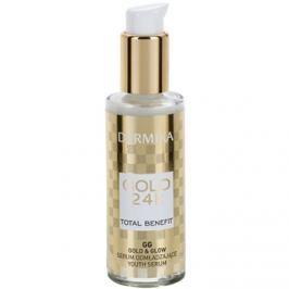 Dermika Gold 24k Total Benefit fiatalító szérum az élénk és kisimított arcbőrért  30 ml