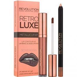 Makeup Revolution Retro Luxe fémes ajak szett árnyalat Sovereign 5,5 ml