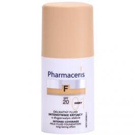 Pharmaceris F-Fluid Foundation intenzív fedő krém make-up alá, hosszantartó hatással SPF 20 árnyalat 01 Ivory  30 ml