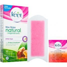 Veet Wax Strips Natural Inspirations™ szőrtelenítő gyantacsík argánolajjal  12 db