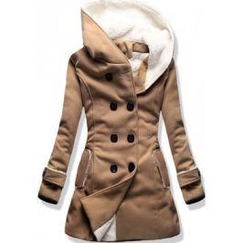 Hosszú női kabát kapucnival 8192A barna