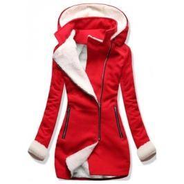 Női hosszú kabát kapucnival 8940 piros