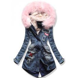 Női téli kabát kapucnival 6216 púderrózsaszín