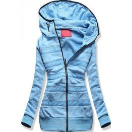 Hosszú női kapucnis pulóver D387 kék