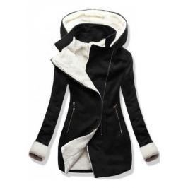 Női hosszú kabát kapucnival 8940 fekete