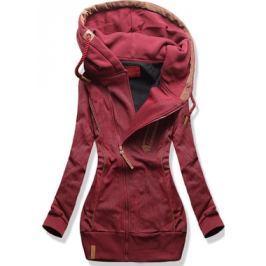 Hosszú női kapucnis pulóver D332 bordó