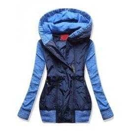 Női hosszú pulóver kapucnival D412 kék