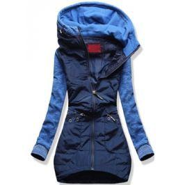 Női hosszú pulóver kapucnival D357 kék
