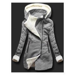 Női hosszú kabát kapucnival 8940 szürke