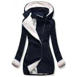 Női hosszú kabát kapucnival 8940 sötétkék