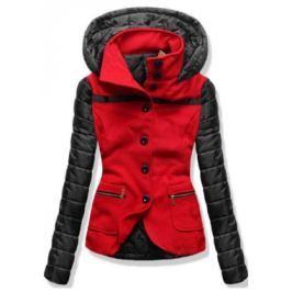 Női rövid kabát kapucnival 2102 piros