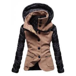 Női rövid kabát kapucnival 2102 barna