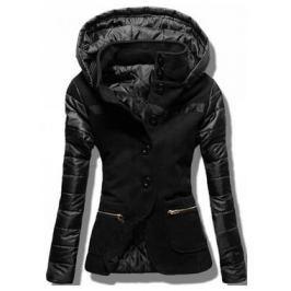 Női rövid kabát kapucnival 2102 fekete