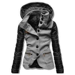 Női rövid kabát kapucnival 2102 szürke