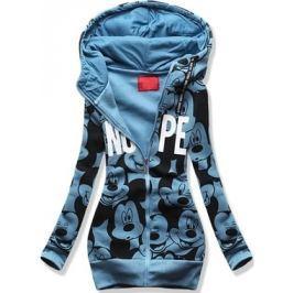 Hosszú női kapucnis pulóver D430 kék