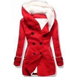 Hosszú női kabát kapucnival 8192A piros