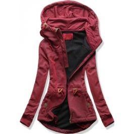 Női kapucnis pulóver D429 bordó