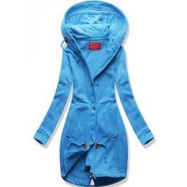 Hosszú női kapucnis pulóver D331 kék