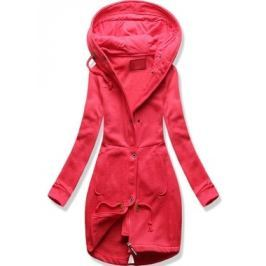 Hosszú női kapucnis pulóver D331 rózsaszín
