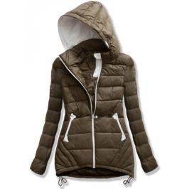 Hosszú női steppelt kabát kapucnival 7151 khaki
