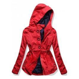 Hosszú női átmeneti kabát kapucnival P-01 piros