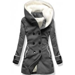 Hosszú női kabát kapucnival 8192A grafitszürkeszürke