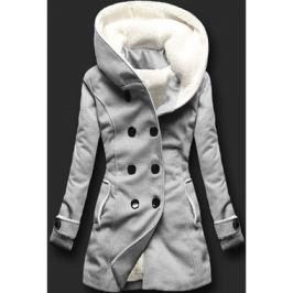 Hosszú női kabát kapucnival 8192A szürke