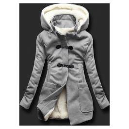 Hosszú női kabát kapucnival 8253 szürke