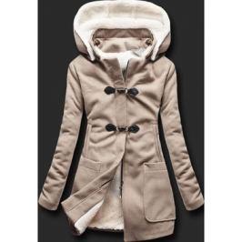 Női hosszú kabát kapucnival 8253 bézs