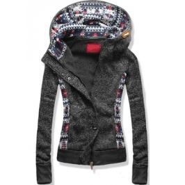 Női pulóver kapucnival D290 fekete
