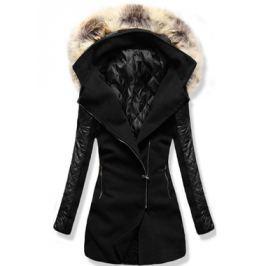 Női hosszú kabát kapucnival 6710 fekete