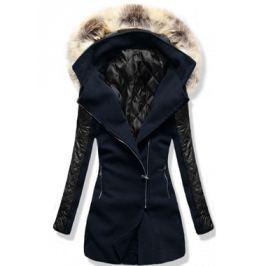 Női hosszú kabát kapucnival 6710 sötétkék
