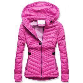 Női steppelt kabát kapucnival W612 rózsaszín