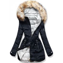 Női téli kifordítható kabát kapucnival W-707 kék-szürke