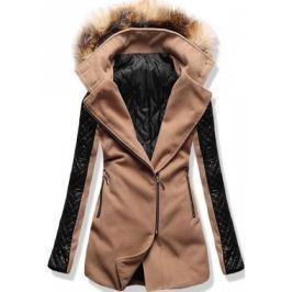 Női hosszú kabát kapucnival 6710 barna