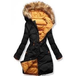 Hosszú női téli kabát A5 fekete-narancssárga