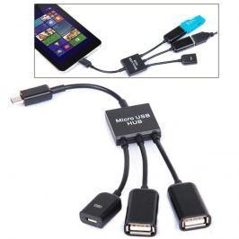 3 az 1-ben Micro USB HUB DUPLA USB 2.0 OTG ADAPTER