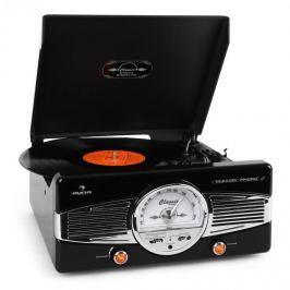 Auna MG-TT-82B gramofon, FM, 50-es évek, retró, fekete