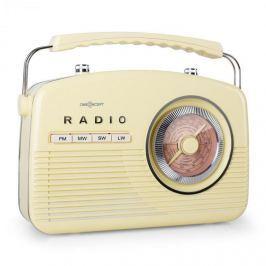OneConcept NR-12, FM/MW rádió, retró, krémszínű