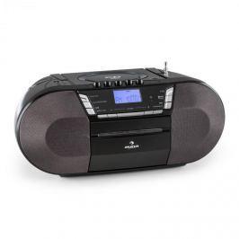 Auna Jetpack, fekete, hordozható boombox, USB, CD, MP3, FM, elemekkel is üzemeltethető