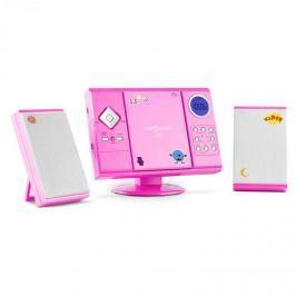 OneConcept V-12, sztereó rendszer MP3-CD lejátszóval USB SD AUX, rózsaszín, matricákkal