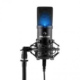Auna MIC-900B-LED, fekete, USB kondenzátoros stúdió mikrofon, vese k., LED