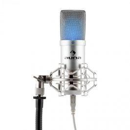 Auna MIC-900S-LED, ezüstszínű, USB kondenzátoros stúdió mikrofon, vese k., LED