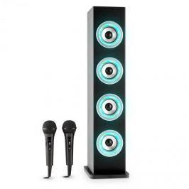 Auna Karaboom LED bluetooth hangfal, USB, AUX, karaoke, 2 mikrofon, fekete