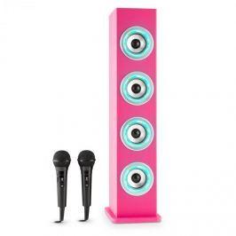 Auna Karaboom LED bluetooth hangfal, USB, AUX, karaoke, 2 mikrofon, rózsaszín