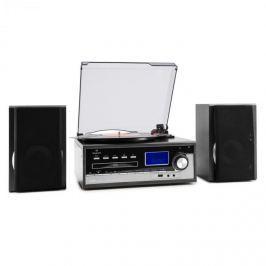 Auna Blackwood sztereó rendszer, lemezjátszó, USB, MP3 kódolás, CD, kazetta, FM, AUX