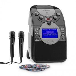 Auna ScreenStar karaoke rendszer, kamera, CD, USB, SD, MP3, 2 x mikrofon, 3 x CD+G, fekete