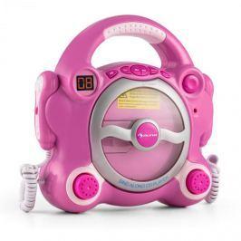 Auna Pocket Rocker karaoke CD lejátszó, Sing A Long, 2 x mikrofon, elem, rózsaszín