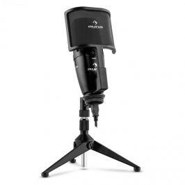 Auna Studio-Pro nagymembrános kondenzátoros USB mikrofon, asztali állvány, pop-/szél filter