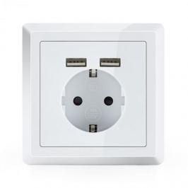OneConcept WS-2USB, védőérintkezős elektromos aljzat, 2 x USB port, vakolat alá, falra szerelendő